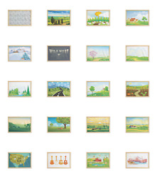 Ambesonne Country Wall Art With Wide Frame For Bathrooms Living Room