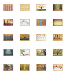 Ambesonne Fall Pattern Wall Art With Wide Frame For Bathrooms Living Room