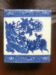 Antique Chinese Qing Blue And White Porcelain Foo Dog Opium Pillow