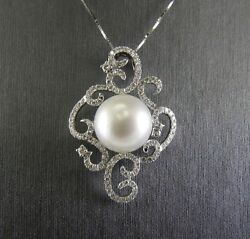 South Sea Pearl And Diamond Filigree Lady's Pendant 18k White Gold 1.20ct 15mm