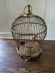 Large Vintage Solid Brass Bird Cage - Swing Perch 2 Feeders Hand Made