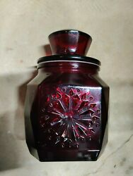 Wheaton Glass Ruby Red Glass Canister Apothecary Small Treat Jar Container 8 H