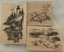Beach Lighthouse Nautical Ocean Sea Seagulls Wood Rubber Stamps Lot Of 3