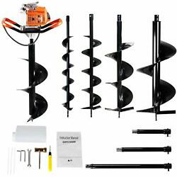 63cc Gas Post Hole Digger Earth Auger Drill 4 And 6 And 8 And 12and039and039 Bits +3 Ext.