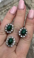 Vintage Ussr Women Set Ring Andearrings Sterling Silver 925 With Natural Malachite
