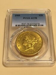 1905 20 Pcgs Au58 Liberty Double Eagle Gold Coin Great Appeal Rare P-mint