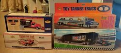 Sunoco Toy Tanker Truck And 3 Mobil Toy/collectible Trucks - All New In Box