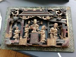 Antique Chinese Qing Dynasty Wood Carved Panel 16x14
