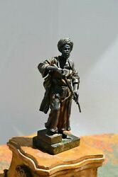Vintage Franz Bergman African Warrior With Rifle Bronze Study In As Is Condition