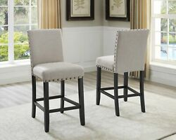 Biony Tan Fabric Counter Height Stools With Nailhead Trim Set Of 2