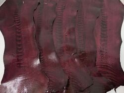 5 Ostrich Legs Leather Wine Gl Color G.b 100 Natural Genuine Hide