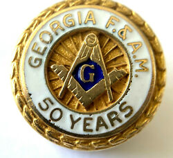 Vintage 10k Gold F. And A.m. Blue Lodge Lapel Pin 50 Years Masonic By Avon Award