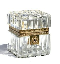 Brass Mounted Thick Wall Glass Jewelry Box French 20th Century