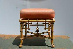 Antique Vintage Faux Bamboo Ottoman Bench Stool Gilded Used Set Of Two
