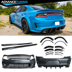 Fits 15-20 Charger Bumper + Grille + Gloss Black Diffuser + Side Skirt + Fenders