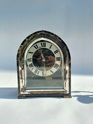 Silver And Marble Art Deco Desk Or Mantle Clock