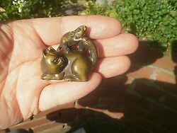 Hand Carved Wood Netsuke Cat With Mouse On Back Collectable Boxwood Figure ..1
