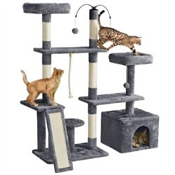 53.5in Cat Tree Tower Play Center with Scratching Post Condo for Indoor Cats
