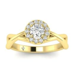 1.3ct G-si2 Diamond Round Engagement Ring 14k Yellow Gold Any Size
