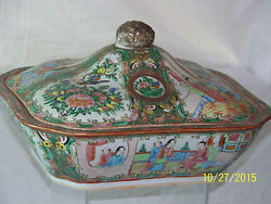 Chinese Rose Medallion Tureen Antique C1800's Qing Dy Hand Painted