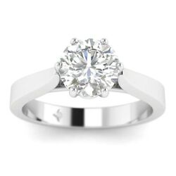 1ct E-si1 Diamond Cathedral Engagement Ring 18k White Gold Any Size