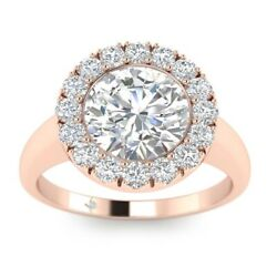 1.25ct E-si1 Diamond Halo Engagement Ring 14k Rose Gold Any Size