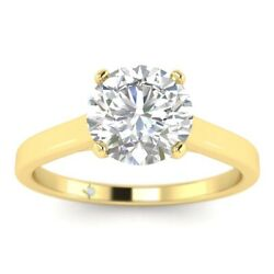1ct D-vs1 Diamond Round Engagement Ring 18k Yellow Gold Any Size