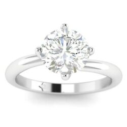 1ct D-vs1 Diamond 4-prong Engagement Ring 18k White Gold Any Size