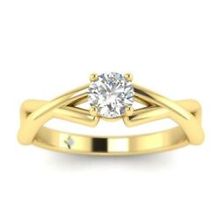 1ct D-vs1 Diamond Prong Engagement Ring 18k Yellow Gold Any Size