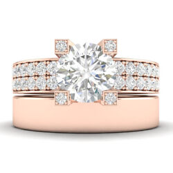 1.45ct G-si2 Diamond Wide Band Engagement Ring 14k Rose Gold Any Size