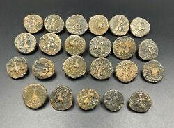 23 Lot Antique India Indo Greek Kushan Bronze Copper Currency Old World Coins