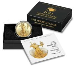 2021-w 1 Oz American Eagle One Ounce Gold Proof Coin 21ebn Confirmed