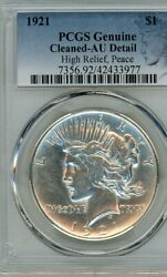 Five Each 5 1921 Peace Silver Dollar High Relief Pcgs Au Special Label