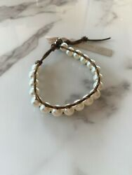 Chan Luu Kanza White Pearl With Bronze Leather Cording Bracelet, New