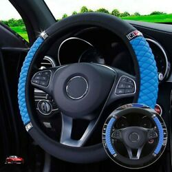 Steering Wheel Cover Leather Universal Anti-slip Auto Black + Blue High Quality