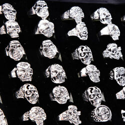 Wholesale 100pcs Lots Gothic Punk Skull Antique Silver Rings Mixed Style Jewelry