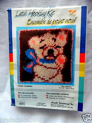 Teddy Bear Latch Hooking Kit By Aronelle 12 X 12 Inches Sealed