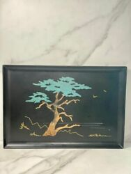 Couroc Of Monterey Ca. Signed Morse Cypress Tree Inlaid Wood Tray Tag