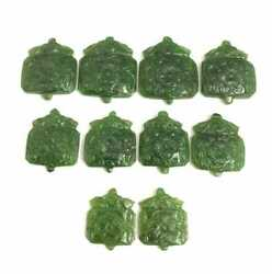 Mughal Style Carved Green Jade Pendent Lot 10 Pic