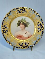 Royal Vienna Daphne Portrait Cabinet Plate, Wagner Painted, Beehive Mark,19th C.