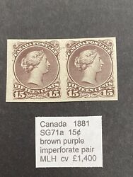 Canada 1881 Sg 71a 15c Imperforated Pair Mh Stamp