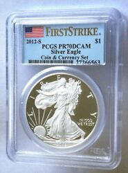 2012 S Silver American Eagle Coin And Currency Set Fs Pcgs Pr70dcam Pop 295