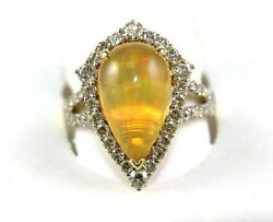 Pear Shape Fire Opal And Diamond Halo Solitaire Bridge Ring 14k Yellow Gold 4.37ct
