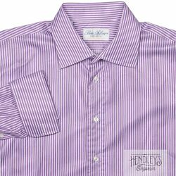 Ben Silver French Cuff Shirt 16.5-35 In Orchid Purple Bengal Stripe Cotton Usa