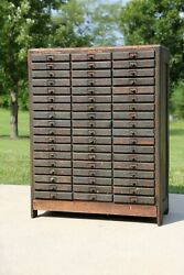 Antique Apothecary Cabinet 54 Drawer Oak Wood Industrial Hardware Store Cupboard