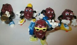 Lot Of 5 Vintage California Raisins Figure Lot Pvc Cake Toppers 1980and039s Applause