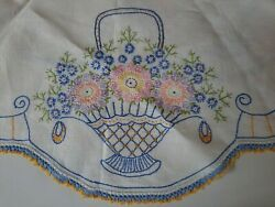 Vintage Hand Embroidered Linen Tablecloth With Crocheted Hem..Basket of Flowers