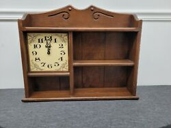 Vintage Linden Chime Wall Clock And Cabinet Spice Herb Rack Holds Apothecary Jar