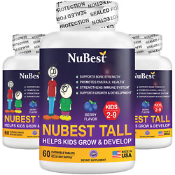 Pack of 3 NuBest Tall Kids for Age 4 9 Helps Kids Grow amp; Develop 60 Chew Tablets $107.00