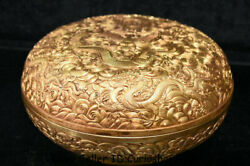 7.4 Old Chinese Copper 24k Gold Gilt Dynasty Dragon Bead Jewelry Box Jewel Case